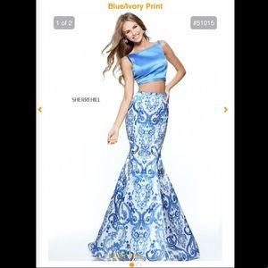 Sherri hill blue/ ivory print 2 piece prom dress!